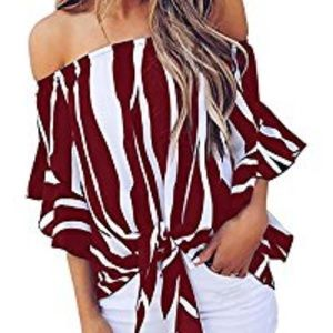 Womens Off Shoulder Tops  Sleeve Sexy Blouse
